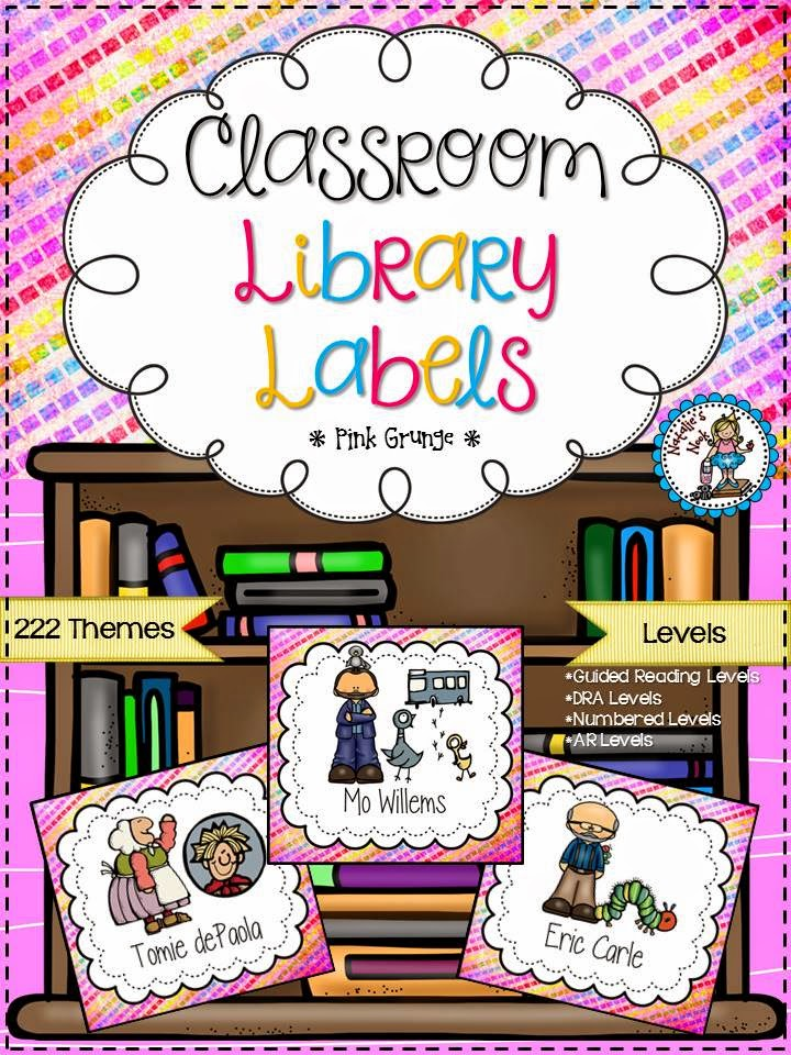http://www.teacherspayteachers.com/Product/Classroom-Library-Labels-Pink-Grunge-1299229