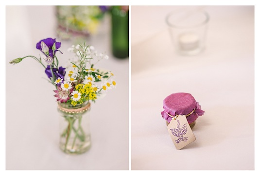 Pretty table settings and wedding favours