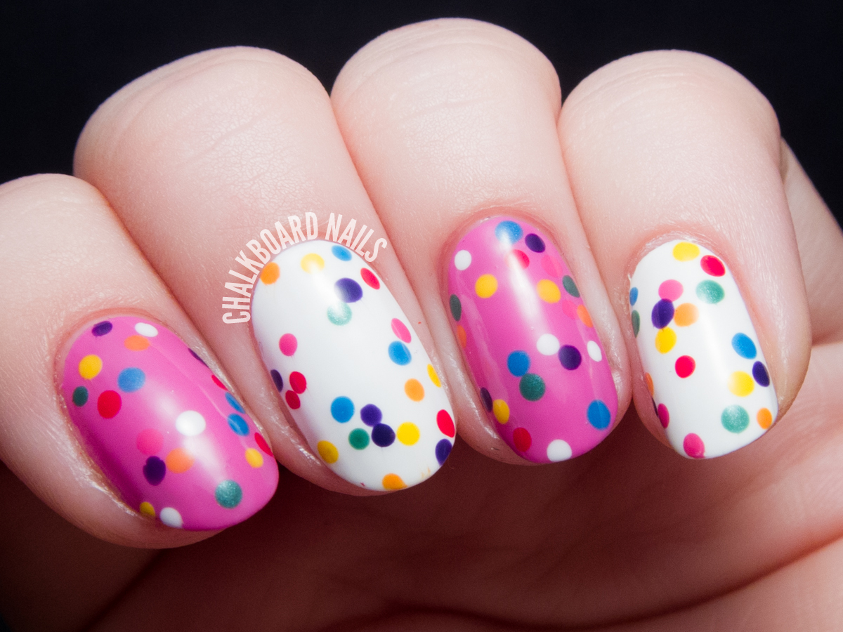 Circus Animal Cookie Nail Art by @chalkboardnails