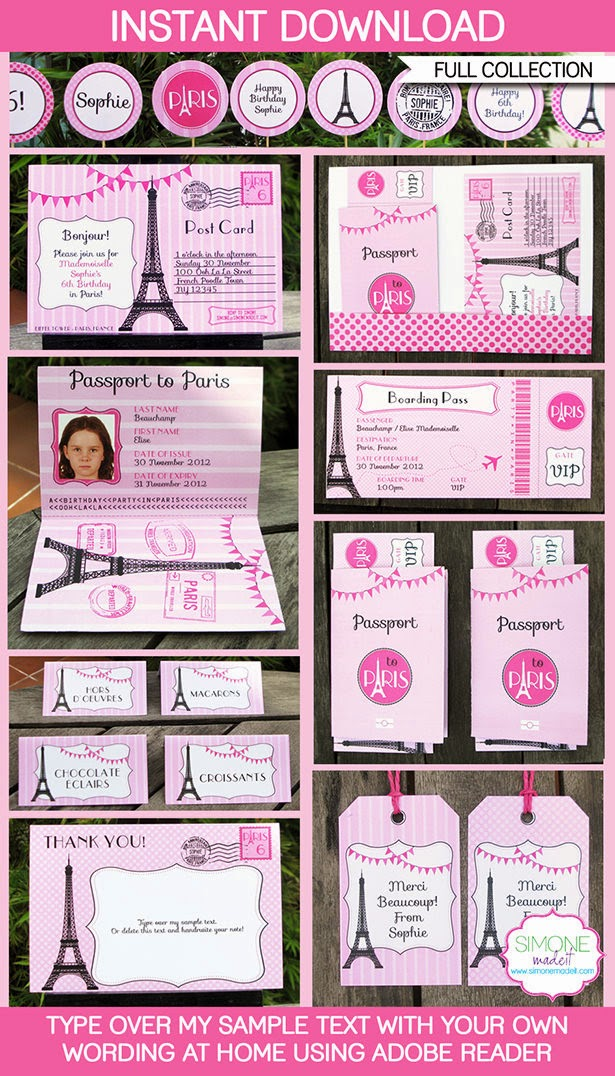Paris-Themed Birthday Party: Printable Package from SimoneMadeIt.com