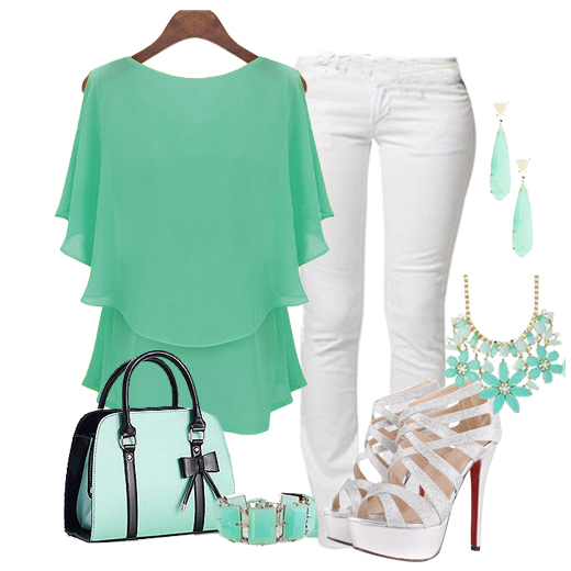 Our selection of minty blouse whiter slim pent ,strappy purse and silver pumps, high heels and sandals in all the latest styles. Silver peep toe pumps, s