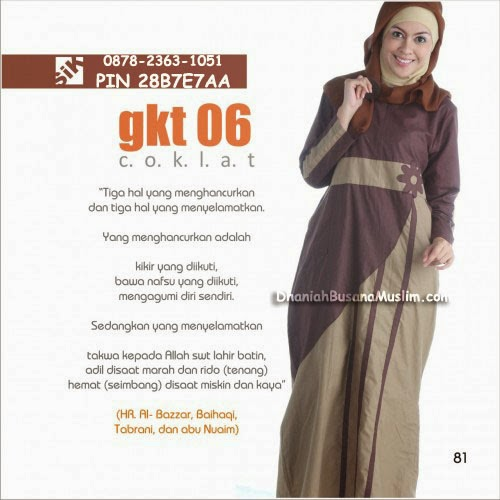 Gamis Sik Clothing GKT 06 Coklat