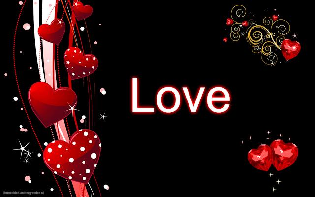 Rode liefdes hartjes en de tekst love