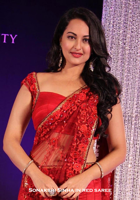 Sonakshi Sinha in saree with low cut blouse