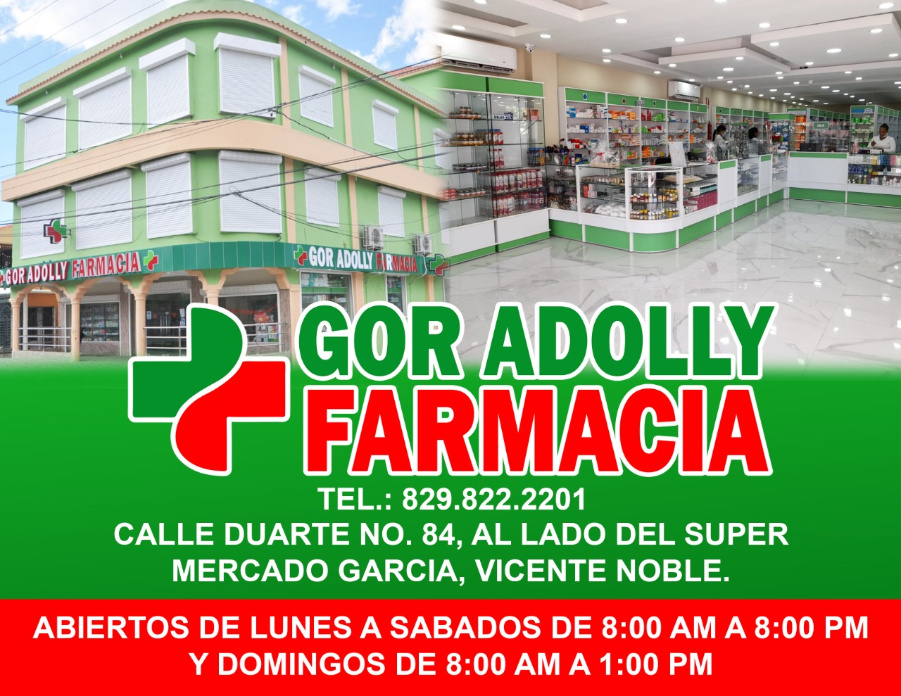 EN VICENTE NOBLE FARMACIA GOR ADOLLY, Tel: (829) 822-2201, CON SERVICIO A DOMICILIO