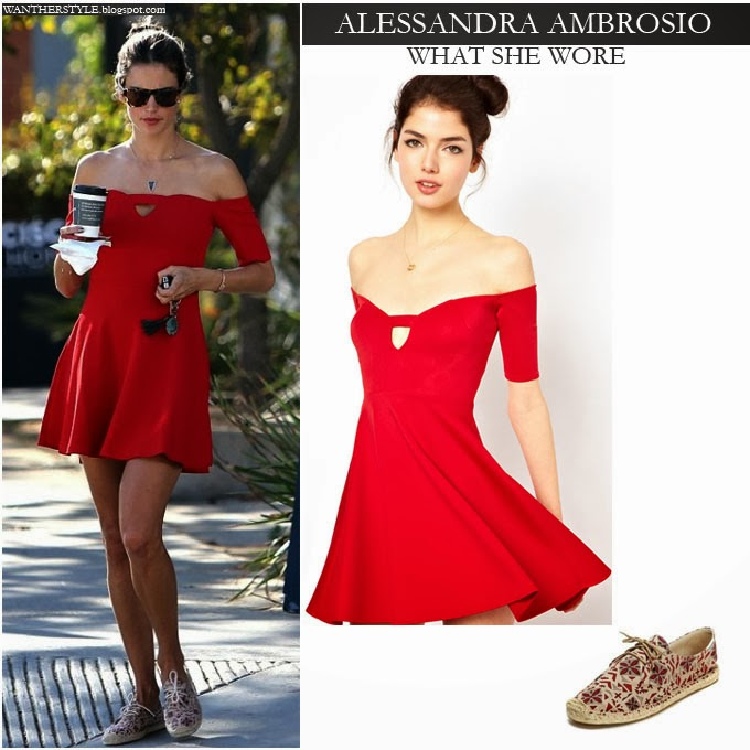30ccb4b12d02 Alessandra Ambrosio in red skater of the shoulder dress with canvas lace up  shoes Want Her