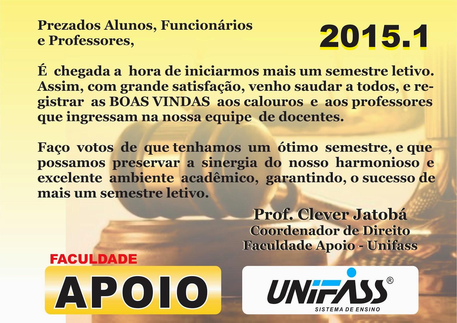 BOAS VINDAS 2015.1