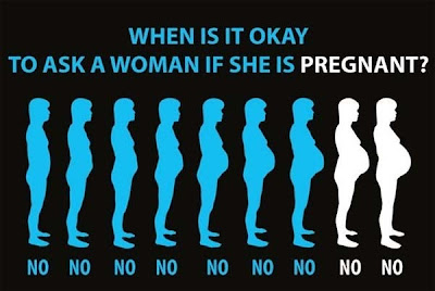 When is it ok to ask a woman if she's pregnant?