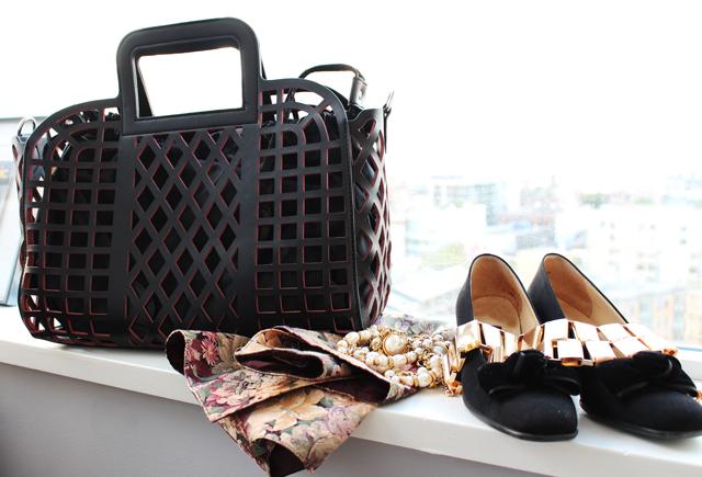 Vanlaced avenue bag, vintage loafers, gold statement necklace, floral vest, vancouver fashion blogger
