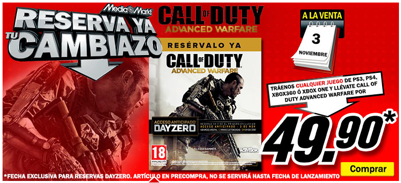 Consigue el juego Call of Duty Advanced Warfare DAY ZERO por menos de 50€