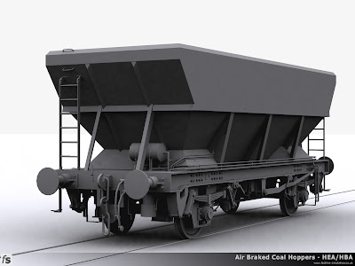 Fastline Simulation - HEA Hopper:  Three-quarter view of the completed shape for a HEA coal hopper before shape testing in RailWorks Train Simulator 2012 from the air tank end showing the offset access ladder fitted to later build vehicles and Bruninghaus springs.