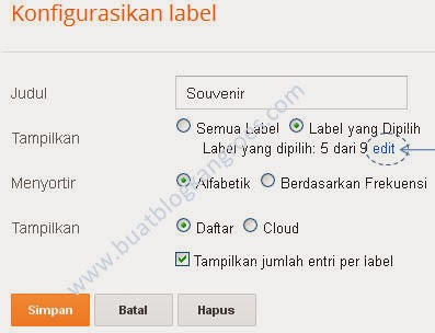 konfigurasi label blogspot