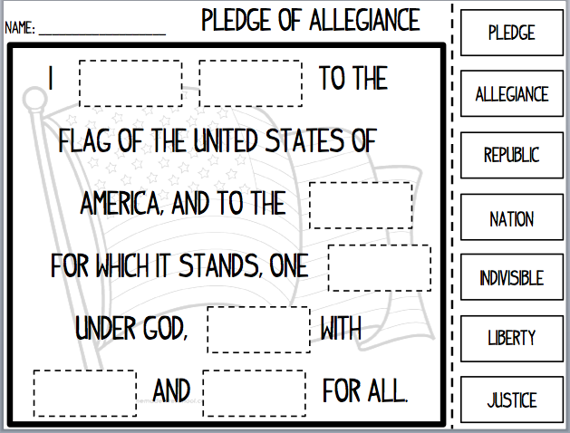 Pictures pledge of allegiance worksheet getadating for Pledge of allegiance coloring page