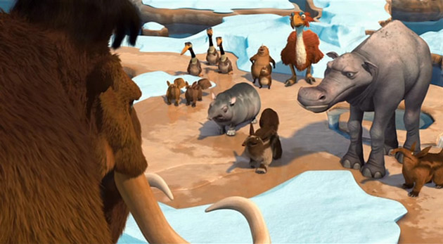 A gathering of animals in Ice Age: The Meltdown animatedfilmreviews.filminspector.com