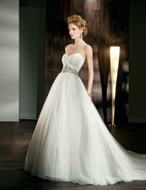Pretty A-line empire waist tulle wedding dress