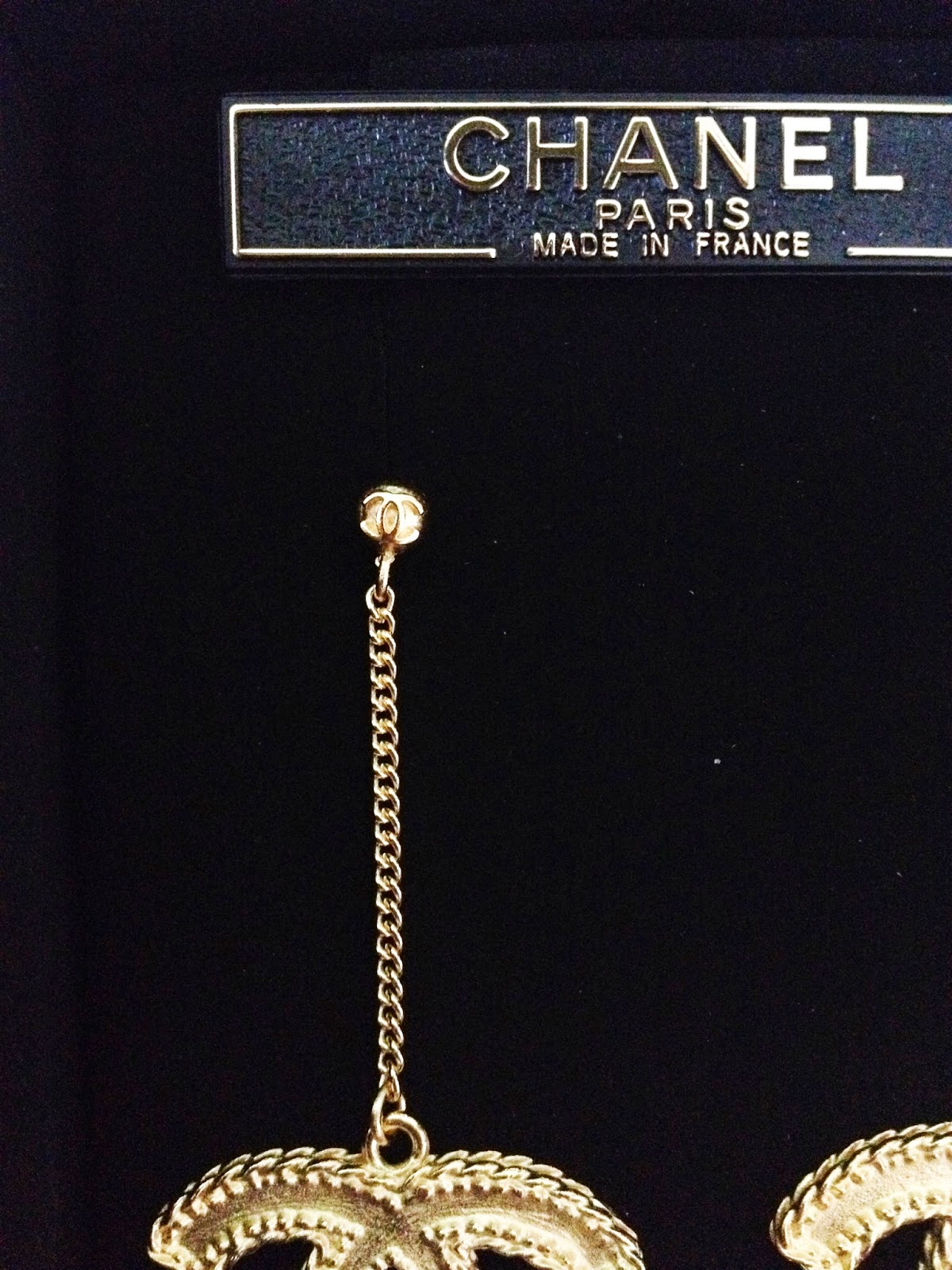 Chanel Earrings Large Cc Logo Gold Metal Hardware With Dangle Chain Model  Review