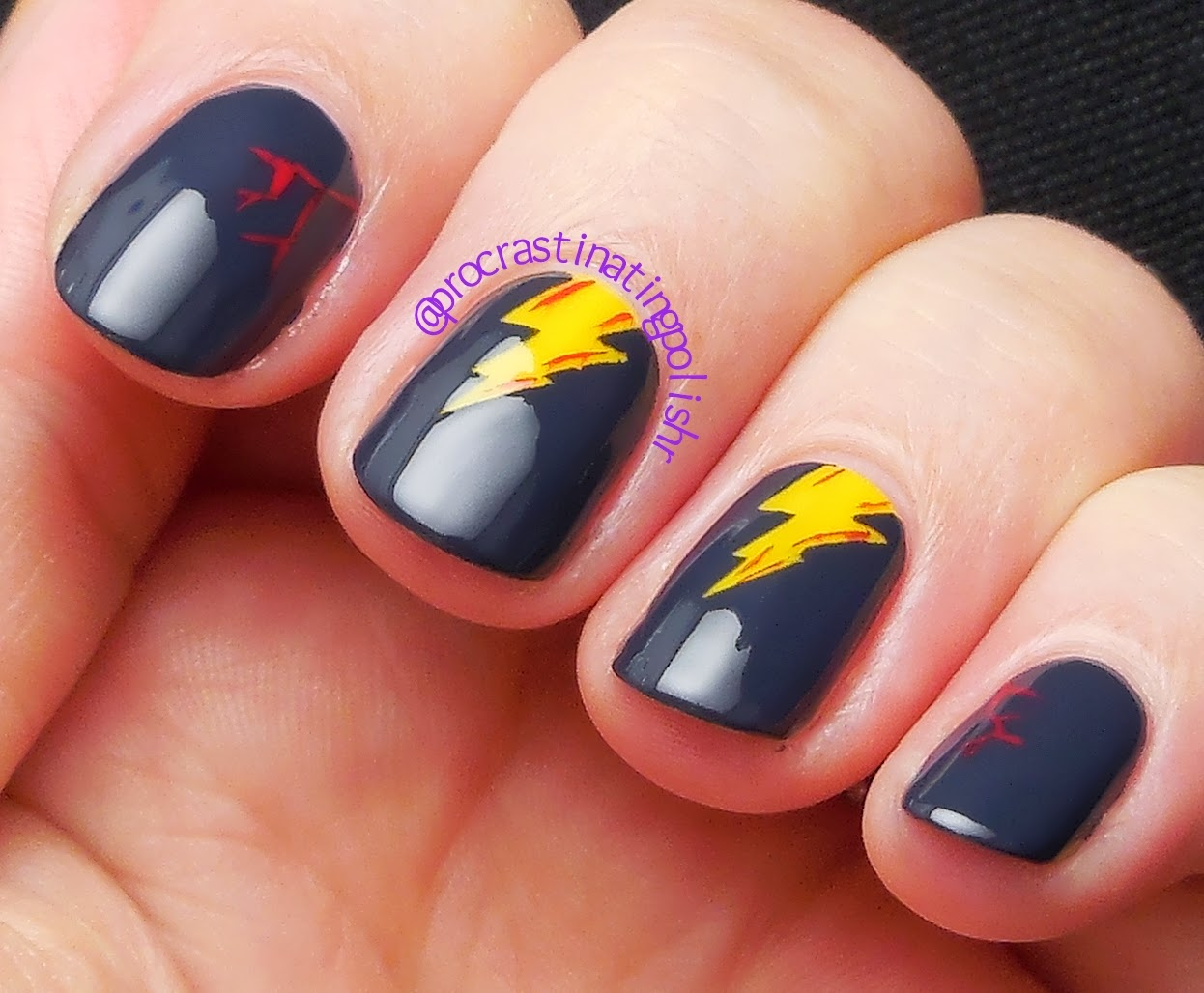 Lightning Nail Art with Dead Set Decals