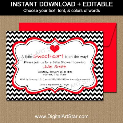 Valentine Baby Shower Invitation in Black & Red