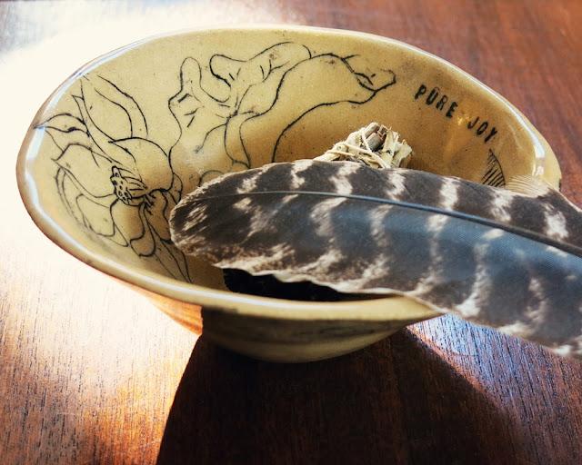 Galia Alena mixed media art and ceramics smudging