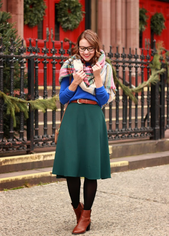 The Steele Maiden: Christmas Outfit with Plaid Blanket Scarf ASOS midi skirt