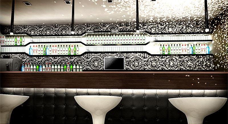 Bar view. The Golden Club Restaurant & Dance design by Somerset Harris