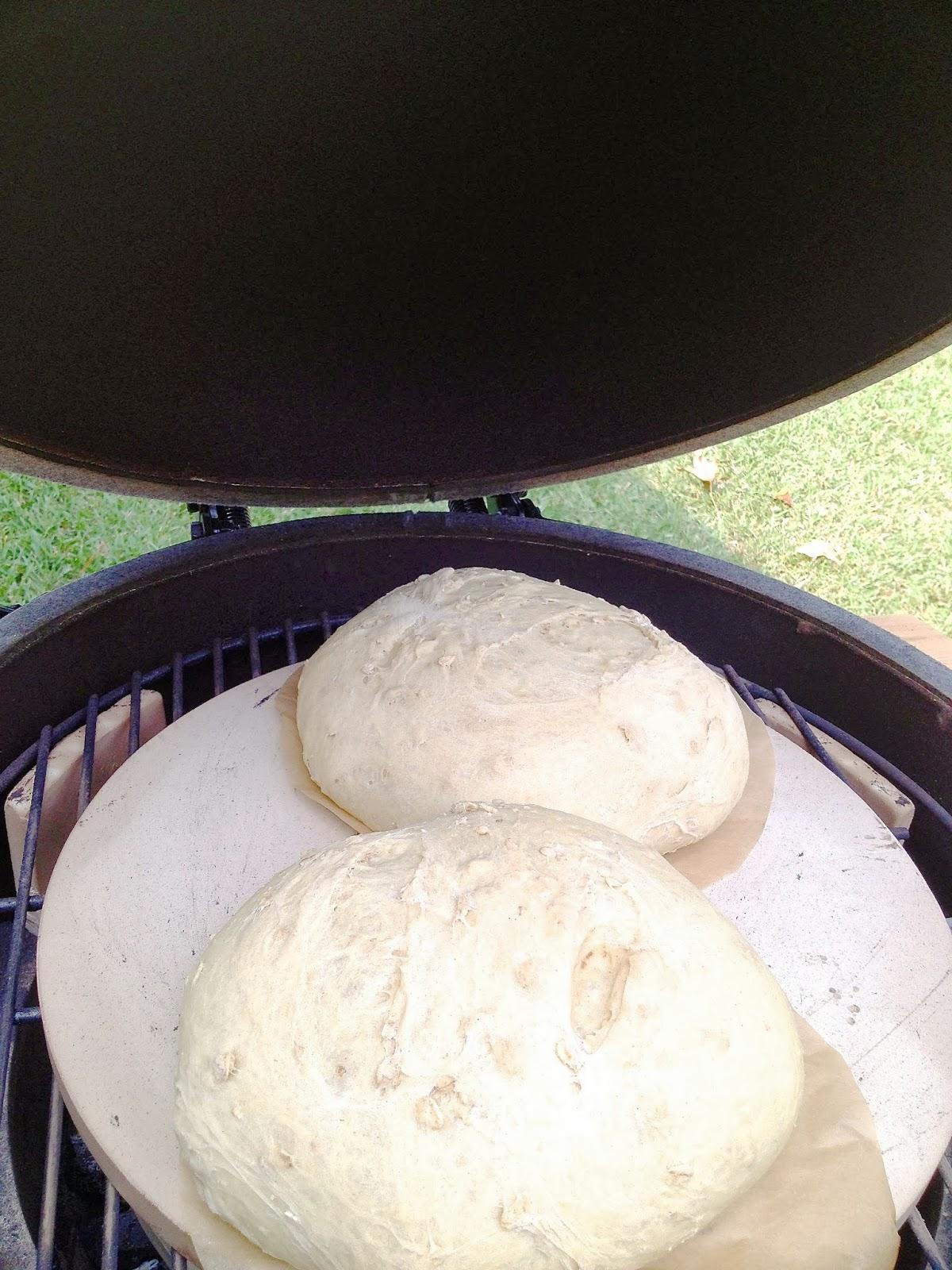 Flannel Jammies Farm: baking bread in the Big Green Egg  #856F46