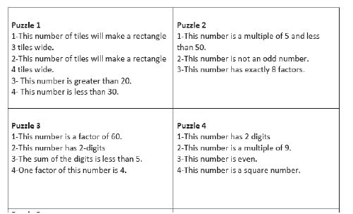 Math in the Middle: Arrays, Number Puzzles, and Factor Trees