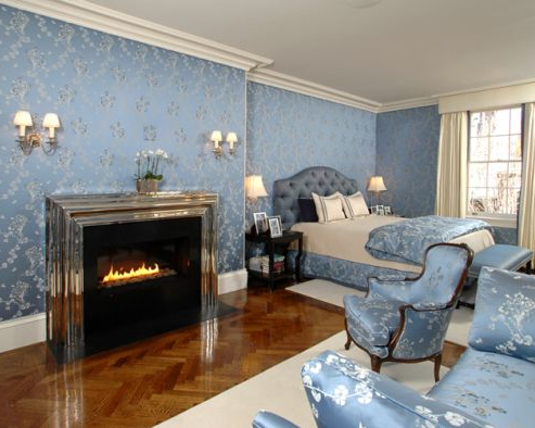 luxurious master suite bedroom of benjamin mansion rental property in boston beacon hill area