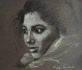 Portrait study work using charcoal pencil and white pastel pencil by Manju Panchal