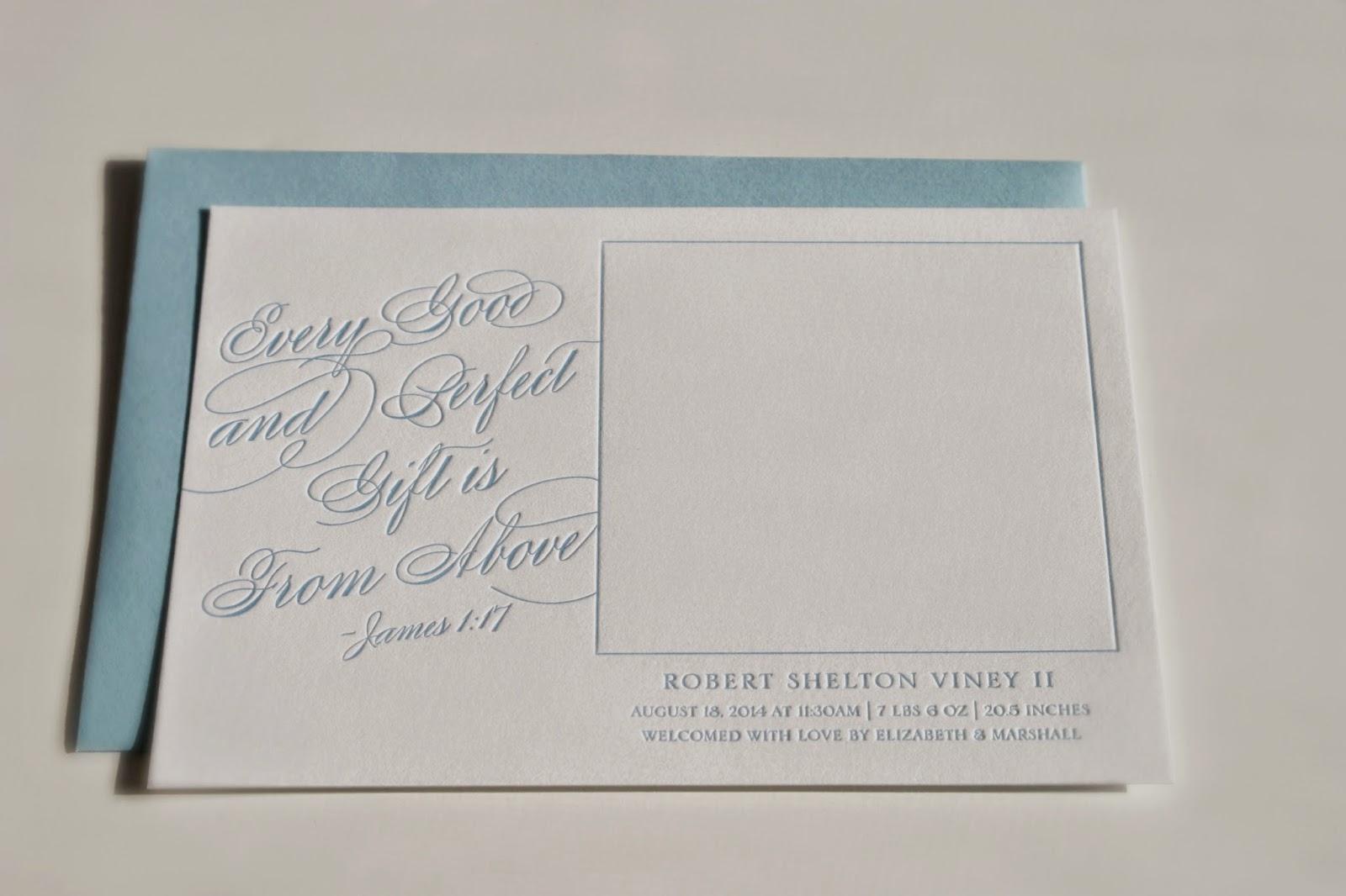 Baby Boy Letterpress Photo Card Announcement
