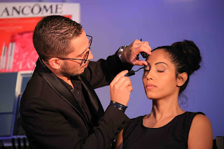 Professional Lancôme make-up artist demonstrates the selection and application of the products for a day look