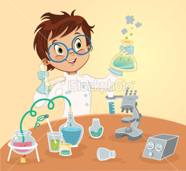 Young Mad Scientist Cartoon