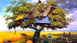 Pintura de casa na árvore