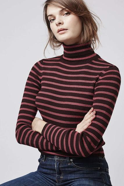 striped roll neck top, burgundy stripe jumper,