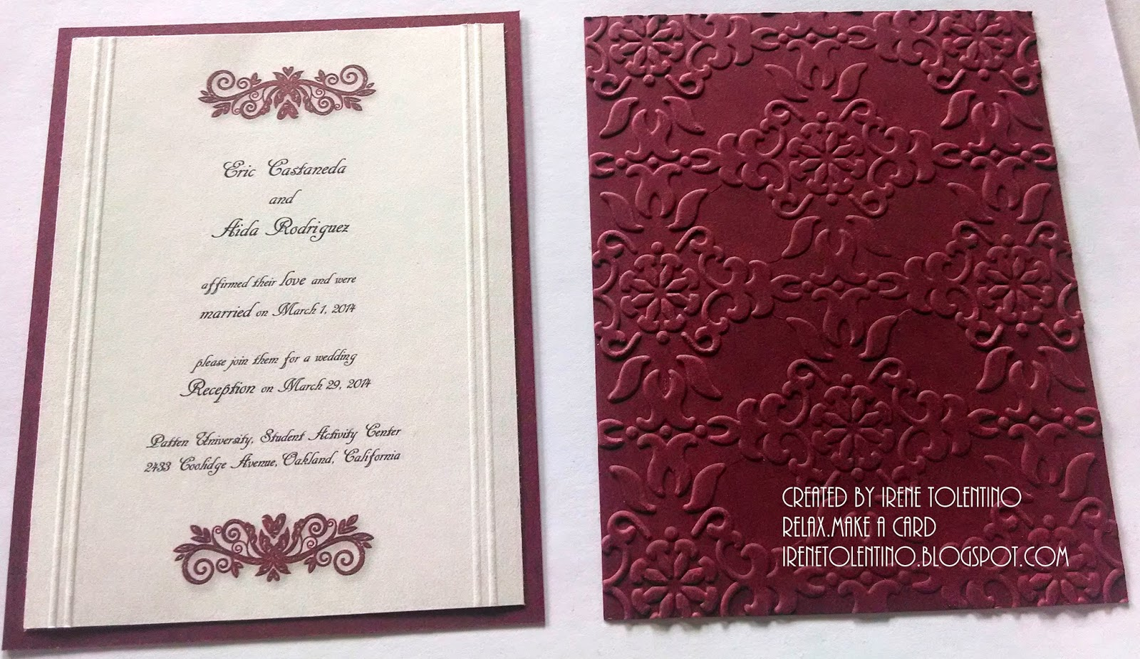 Relax. Make a Card: Burgundy Wedding Reception Invitations