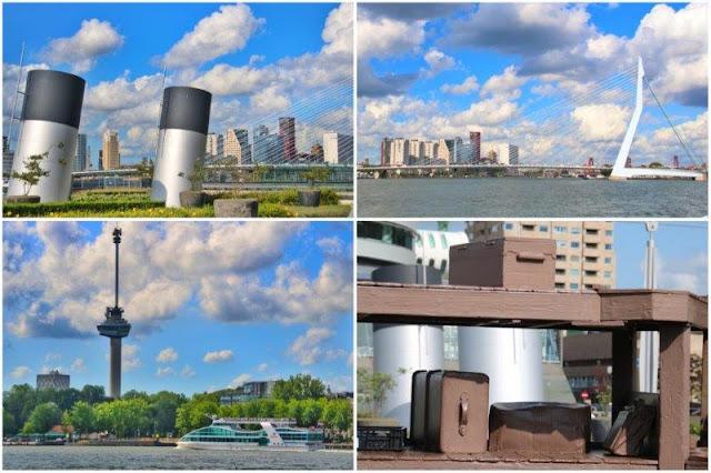 Vistas desde el Hotel New York en Rotterdam – Erasmusbrug, Euromast, maletas
