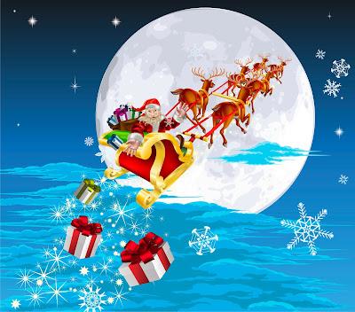 Santa Claus va por todo el mundo repartiendo regalos