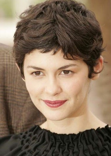Audrey Tautou Short Curly Pixie Cut with Choppy Bangs