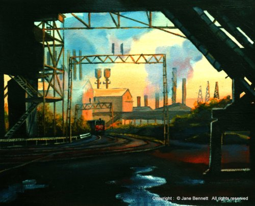 plein air oil painting of railway goods yard BHP steelworks Kooragang Island by industrial heritage artist Jane Bennett