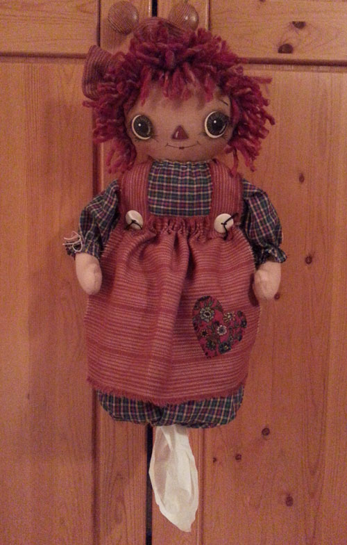 Raggedy Annie Tissue/Bag Holder Doll