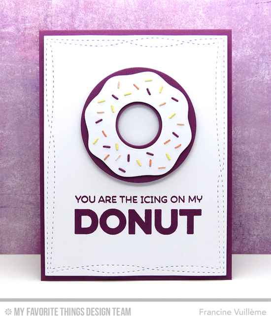 cing On My Donut Card by Francine Vuillème featuring the Laina Lamb Design Donuts and Sprinkles stamp set and Donuts Die-namics, and the Wonky Stitched Rectangle STAX Die-namics #mftstamps