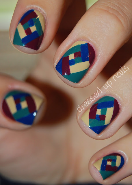 China Glaze On Safari color blocked nail art - Purr-fect Plum, Man Hunt, Kahalari Kiss, Exotic Encounters