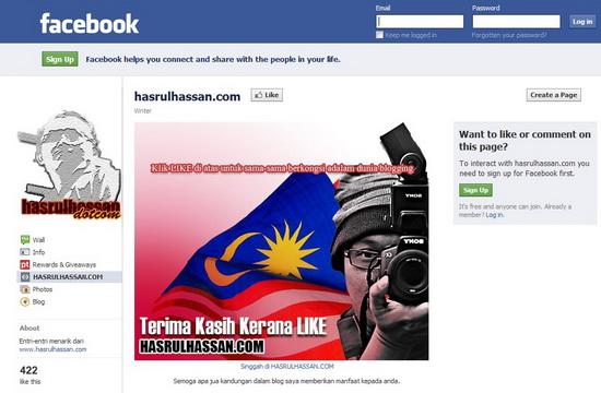 Dunia Blogger Malaysia | Fanpage HASRULHASSAN.COM Semakin Bertambah LIKE