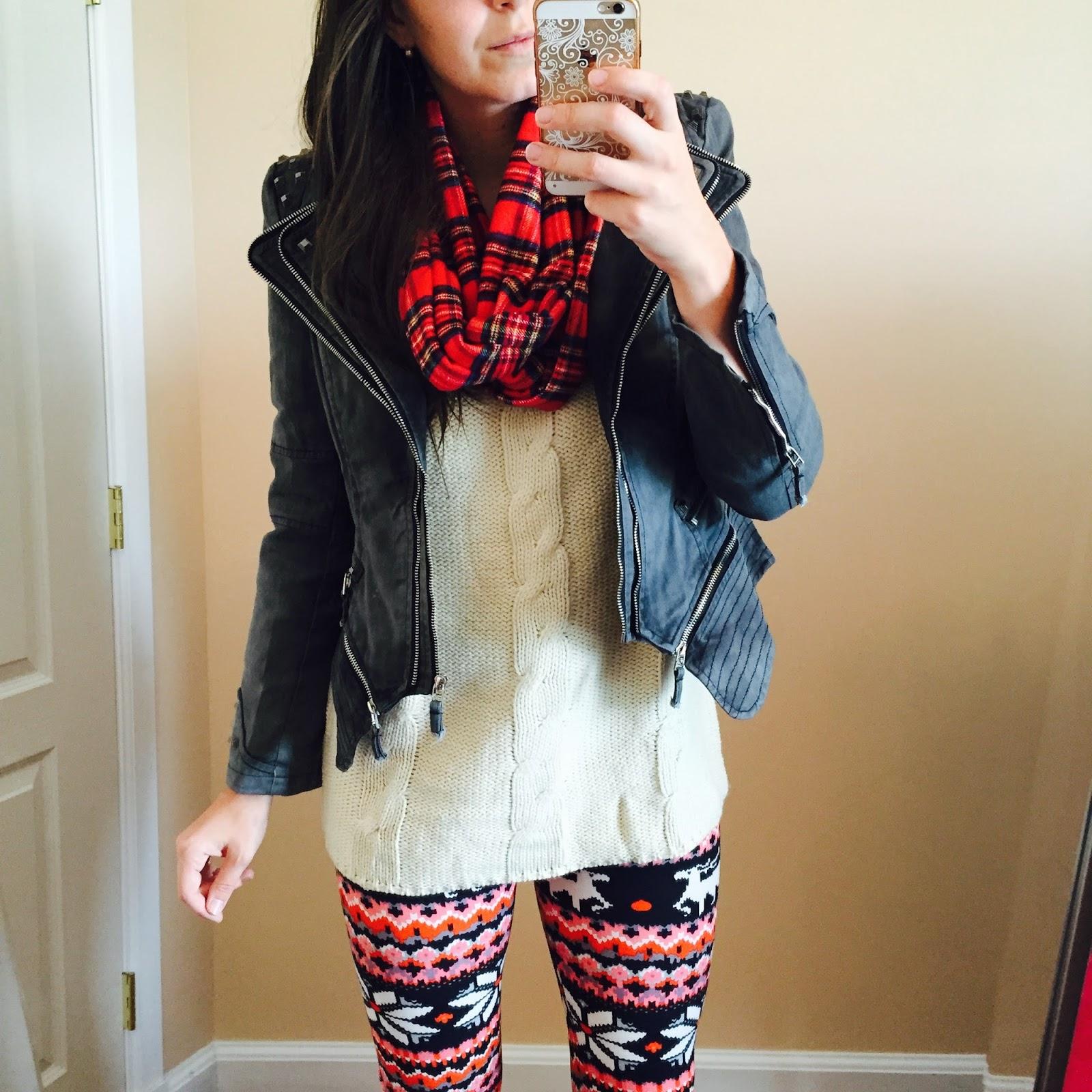 grey studded shoulder blazer, plaid scarf, red plaid scarf, red plaid infinity scarf, printed leggings, aztec leggings, winter wear leggings, fleece leggings,ivory shoulder cut out sweater, lookbook store, how to style a ivory sweater, how to style a sweater, teen fashion, teen fashion outfits, how to style for teenagers, teen outfits,