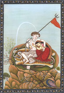 Sati and Shiva in the city of pleasure, Bhogya Pahari miniature