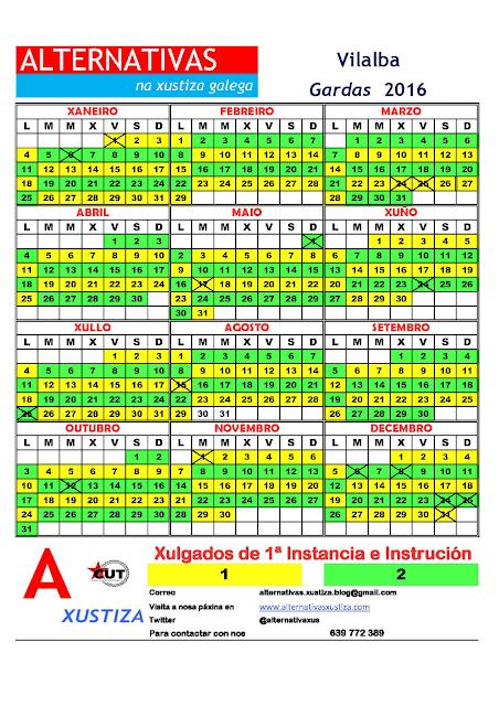 Vilalba. Calendario gardas 2016