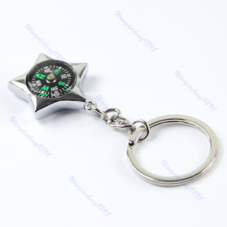 Outdoor Sport Pendant Five Pointed Star Compass Key Chain Ring Keychain Keyfob