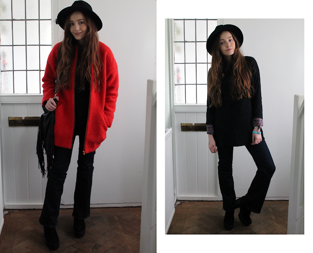 outfit featuring primark black fedora, dark orange cocoon coat, printed shirt, suedette dress (faux suede), flares, fringed bag and over the knee suede boots