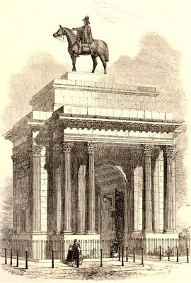 The Triumphal Arch near Hyde Park with large  equestrian statue of the Duke of Wellington on top  Wood engraving, prob by WJ Linton,  from Illustrated London News 21 November 1846  © The Trustees of the British Museum