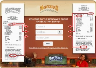 Feedback Survey for Montana's Restaurant - $500 Gift Card Montana's Guest Survey